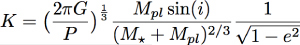 equation for radial velocity half-amplitude