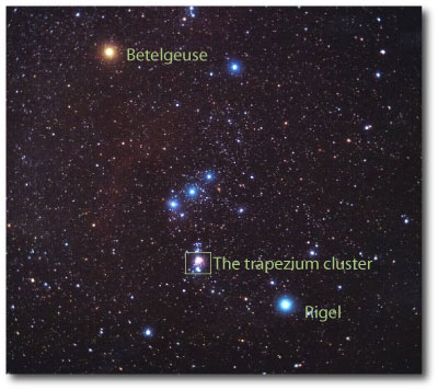 orion showing trapezium